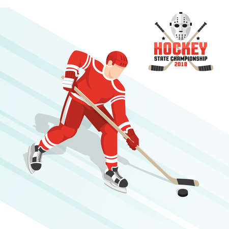 Hockey player leads the puck on ice in a red uniform. Vector isometric illustration. And hockey flat emblem with crossed sticks and goalie mask.