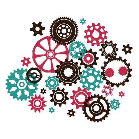 複雑形状とサイズの歯車と歯車で異なる複雑な時計のメカニズムになります。  イラスト・ベクター素材
