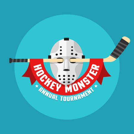 Flat hockey logo of retro hockey mask and stick with heraldic ribbon. Illustration