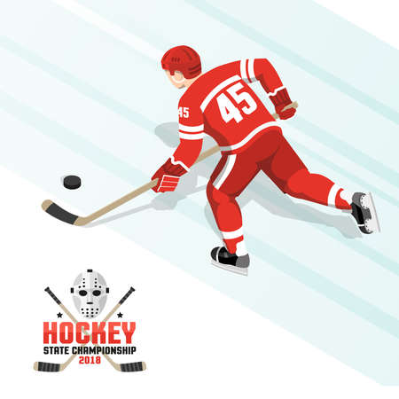 Ice hockey player with puck in  red uniform  -  isometric view from the back. Illustration