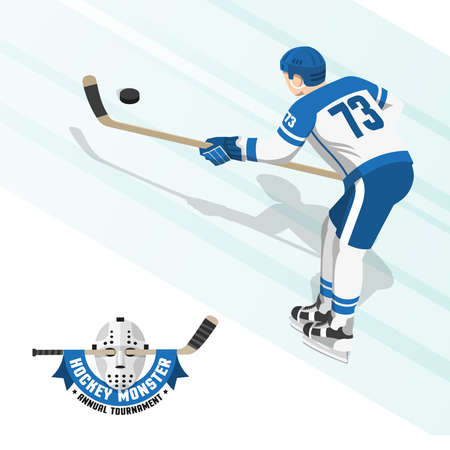 Ice hockey player in a white blue uniform, view from the back. Flat logo with a retro goalkeepers mask and stick.