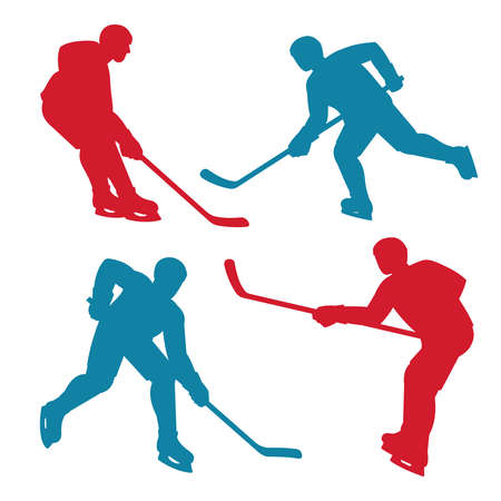 Red and blue silhouettes of hockey players in various poses Illustration