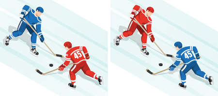 Red hockey player against the blue fight for the puck in hockey match Ilustração