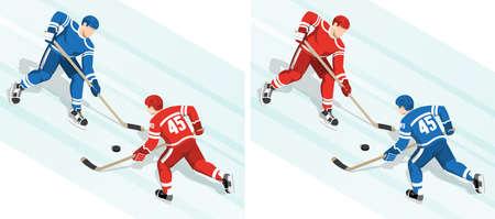Rode hockey speler tegen de blauwe strijd om de puck in hockey match Stock Illustratie
