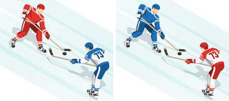 Fght per il disco alla partita di hockey. 2 varianti della colorazione della divisa. Illustrazione isometrica. Archivio Fotografico - 91040757
