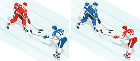 Fght for the puck at the hockey game. 2 variants of the coloring of uniform. Isometric illustration. Illustration