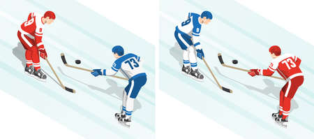 Hockey match puck battle for the players of opposing teams. Two variants of the uniform coloring. Isometric illustration.