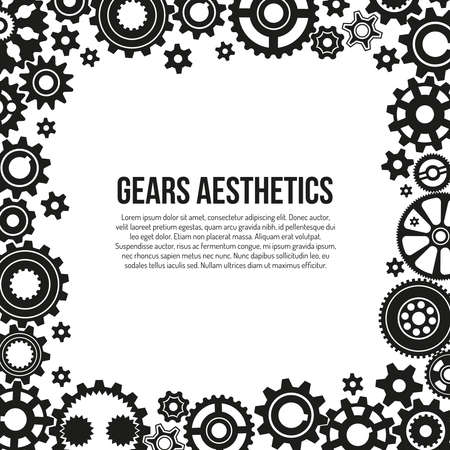 Various gears and cogwheels in engagement frame template - black and white illustration.