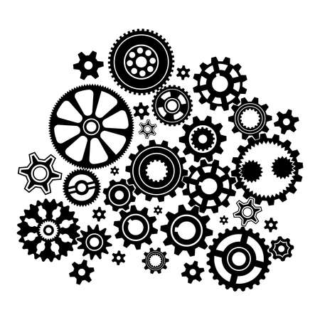 Complex mechanism of various gears and cogwheels - black and white illustration. Ilustração