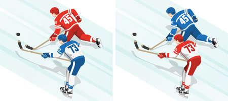 Rode en blauwe hockeyspelers jagen de puck tijdens het spel. Isometrisch beeld vanaf de achterkant.