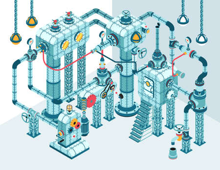 Complex 3D isometric industrial abstract intricate machine of pipes, motors, levers, gauges, pumps and so on.  It can be disassembled into individual parts.
