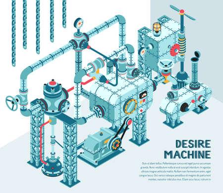 Fantastische industriële machine met een ingewikkeld ontwerp - met buizen, fittingen, adapters, flenzen, kleppen. Isometrische illustratie.