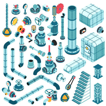 Spare parts for creating complex industrial machines - pipes, cranes, hulls, valves, splitters, fittings, flanges, portholes and so on. Isometric 3d illustration. Vectores