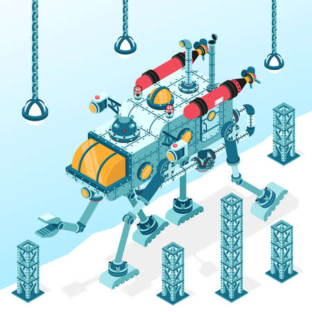 Fantastic  transport machine on four legs with manipulator arm. Isometric 3d illustration. It can be disassembled into individual parts. Stock Vector - 92400763