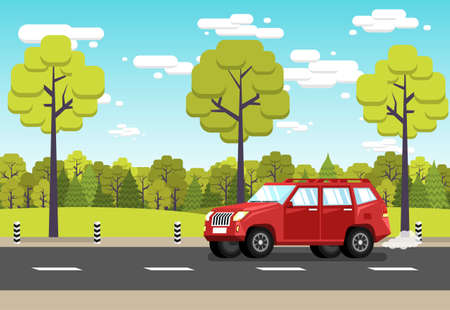 Red off-road car rides along suburban road against the background of green forest and a blue sky with clouds. Stock Vector - 92406393