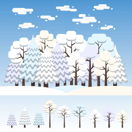 Winter mixed forest covered with snow. Separate deciduous and coniferous trees of various configurations. Flat illustration.