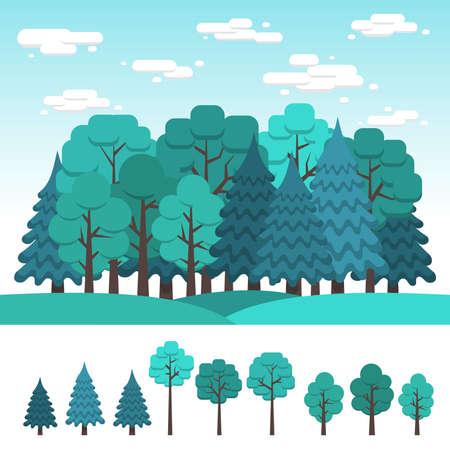 가로의 디자인에 대 한 낙 엽과 침 엽 수의 집합입니다. 여름 숲입니다. 플랫 클립 아트.