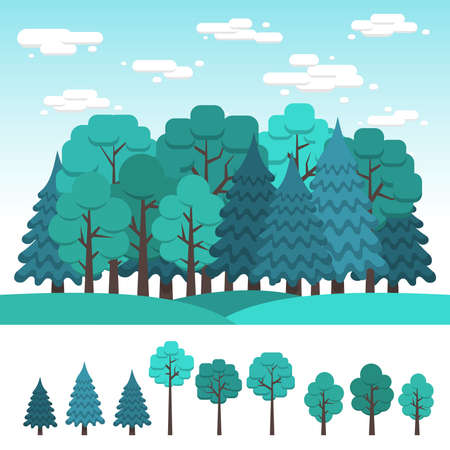 Set of deciduous and coniferous trees for design of landscape. Summer forest. Flat clipart.  Illustration