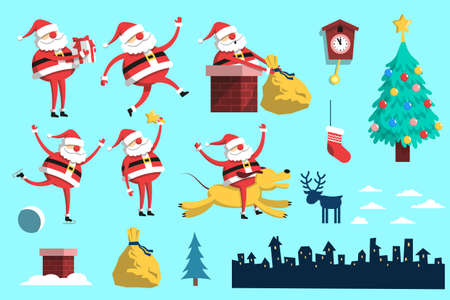 Santa Claus in various poses - runs, holds a gift, climbs into the chimney, skates, rides a dog. And also set of Christmas design elements. Flat style.