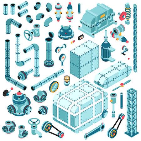 Grote set isometrische industriële reserveonderdelen, machinedetails, assemblages, units, pijpen, flenzen, motoren, metalen behuizing, tandwielen etc.