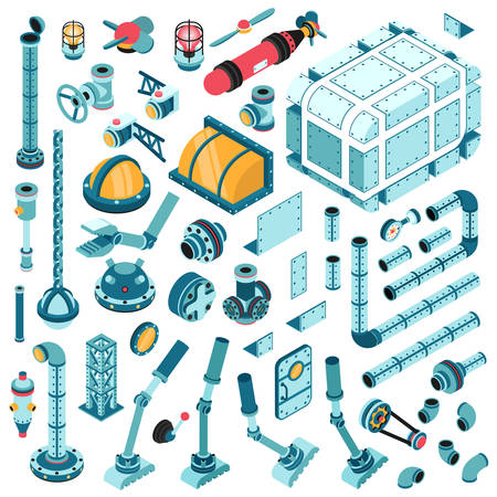 Isometrische reserveonderdelen voor de assemblage van industriële machines en aggregaten. Buizen, kleppen, pompen, flenzen, fittingen, splitters, deksels, fittingen, apparaten en ga zo maar door. Stock Illustratie