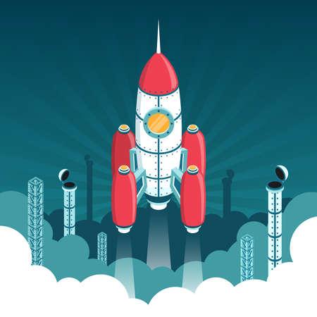 산업 구조와 연기 클럽의 배경 상대로 공간에 3d 아이소 메트릭 로켓의 출시.