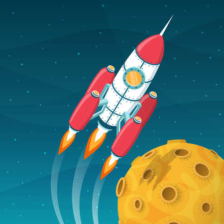 Rocket spacecraft  flies around a yellow planet with craters. 3d isometric space vector illustration.