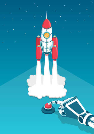 Mechanical hand of the robot presses a finger on the red button and rocket launched into space. Startup 3d isometric vector illustration. Illustration