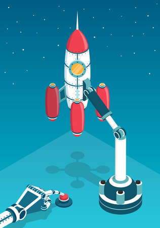 Space rocket just before the start and the robots hand pressing the start button. 3d isometric vector illustration.
