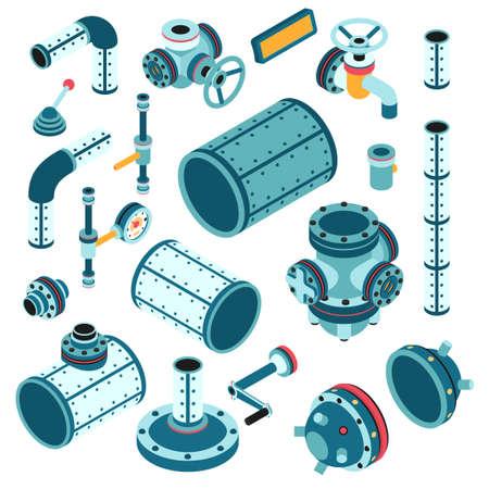 Industriële steampunk-reserveonderdelen voor assemblageapparatuur, machine - pijp, flens, fitting, lichaam, klep, splitter, hendel, handgreep enzovoort. 3D Isometrische Vector Illustratie. Stock Illustratie