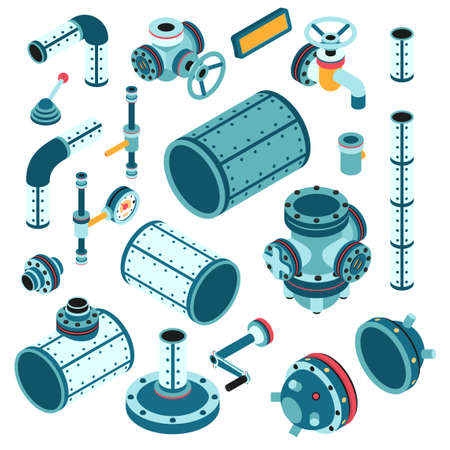 Industrial steampunk spare parts for assembling apparatus, machine - pipe, flange, fitting, body, valve, splitter, lever, handle and so on. 3d isometric vector illustration. Illustration