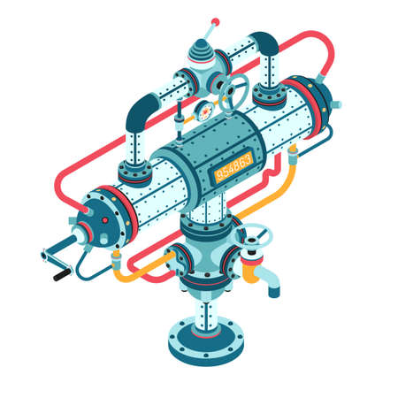 Fantastic steampunk machine made of pipes, casings, cables, flanges, fittings, valves, cranes, wires and so on. 3d isometric vector illustration. Can be disassembled into separate parts.
