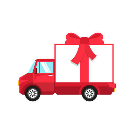 New Year red truck with box in the form of  gift box tied with  red bow. Illustration