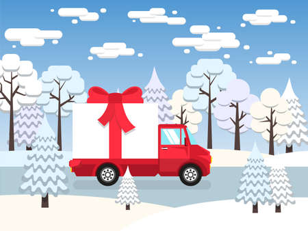 Red truck carries among winter forest huge gift tied with a red bow