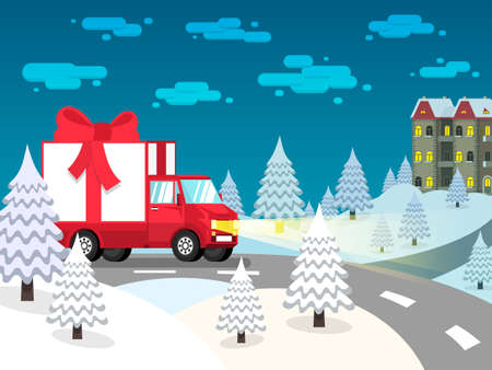 Truck loaded with gift box with a red bow rides on a snow-covered landscape with fir trees.