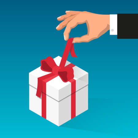 Mans hand unties red ribbon on the box with gift. Illustration