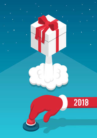 Santas hand presses the red button and launches the gift box like a rocket. Illustration