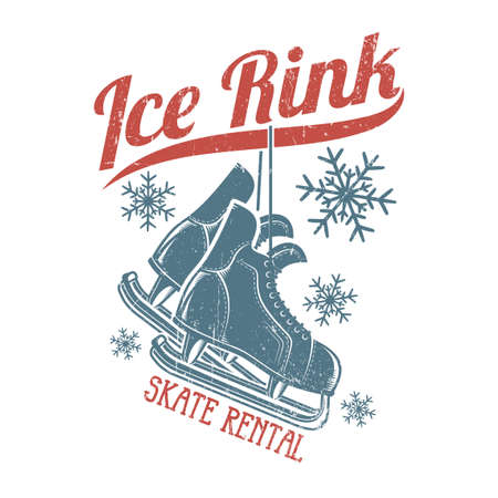Retro skates hang on the inscription ice rink winter emblem. Worn texture on a separate layer and can be easily disabled. Vectores
