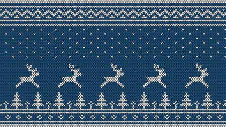 니트 스 칸디 나 비아 패턴와 사슴, 전나무, 장식품 및 떨어지는 눈. 파란색 배경에 흰색입니다.