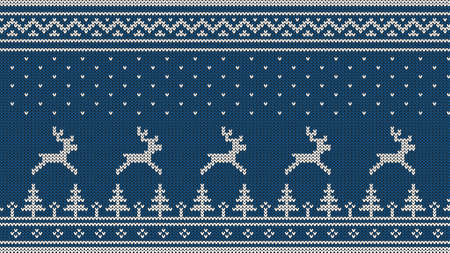 Knitted Scandinavian pattern with deer, firs, ornaments and falling snow. White on a blue background.