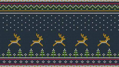 가문비 나무 숲, 국가 패턴 및 떨어지는 눈 실행하는 사슴 함께 sweeter에 대한 북부 니트 컬러 가로 장식.