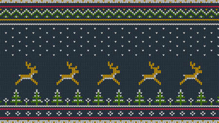 Northern knitted color horizontal ornament for sweeter with deer running over the spruce forest, national patterns and falling snow.