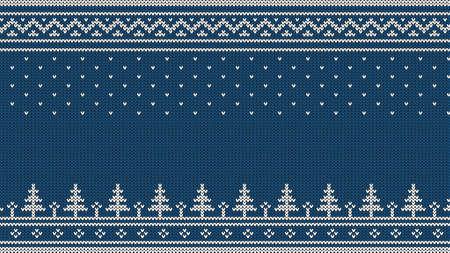 ニットセーターの装飾 - スプルース、落ちる雪、国のパターン。青い背景に白。