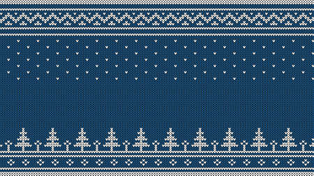 Knitted sweater ornament - spruce, falling snow, national patterns. White on a blue background. Stock Vector - 92806037