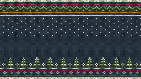 눈 속에서 크리스마스 나무와 니트 스 칸디 나 비아 컬러 가로 장식.