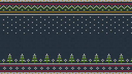 Knitted Scandinavian colored horizontal ornament with Christmas trees in the snow. Illustration