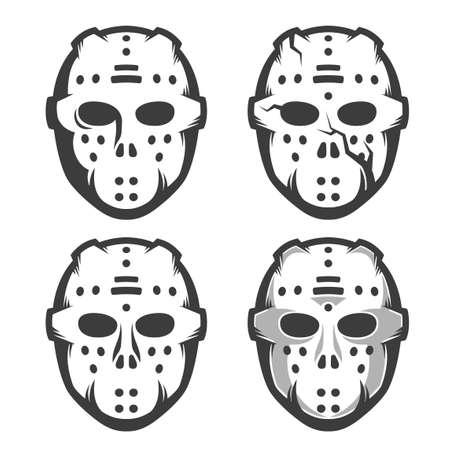 Retro hockey goalie mask - set of four options. Monochrome vector illustration. Ilustração
