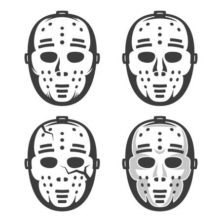 Classic vintage hockey goalkeeper mask from the 60s. Set of four options - including with crack and shadows.