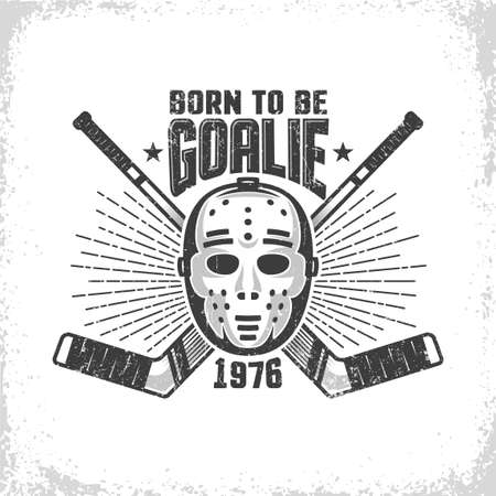 Vintage hockey emblem with retro goalie mask and crossed sticks. Worn texture on separate layer and can be turned off.