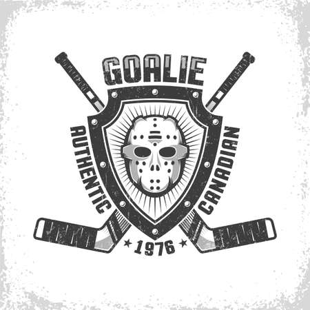 Emblem with canadian hockey retro mask on triangular shield on background of crossed goalies. Worn texture on separate layer and can be turned off.